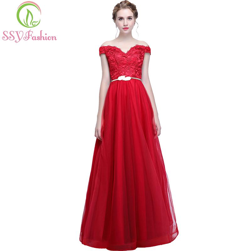 7cca028121549 SSYFashion New Evening Dress The Bride Married Banquet Elegant Red Lace  Tulle Floor Length Long Prom Party Gown Custom Made All White Prom Dresses  ...