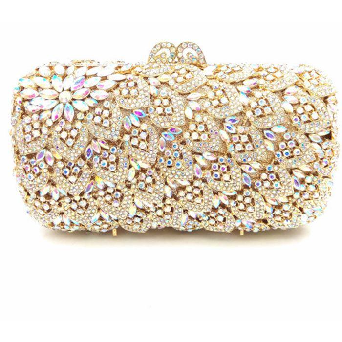 ffc51aaef Cute Lady Gold/Silver Multi Colour Rhinestones Clutch Mini Night Purse  Diamond Evening Bags Chain Shoulder Handbags For Wedding Name Brand Purses  Cheap ...