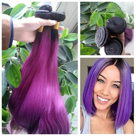 Indian Ombre 1B Purple Hair Bundles Omber Dark Roots Dos tonos Purple Straight Ombre El cabello humano teje
