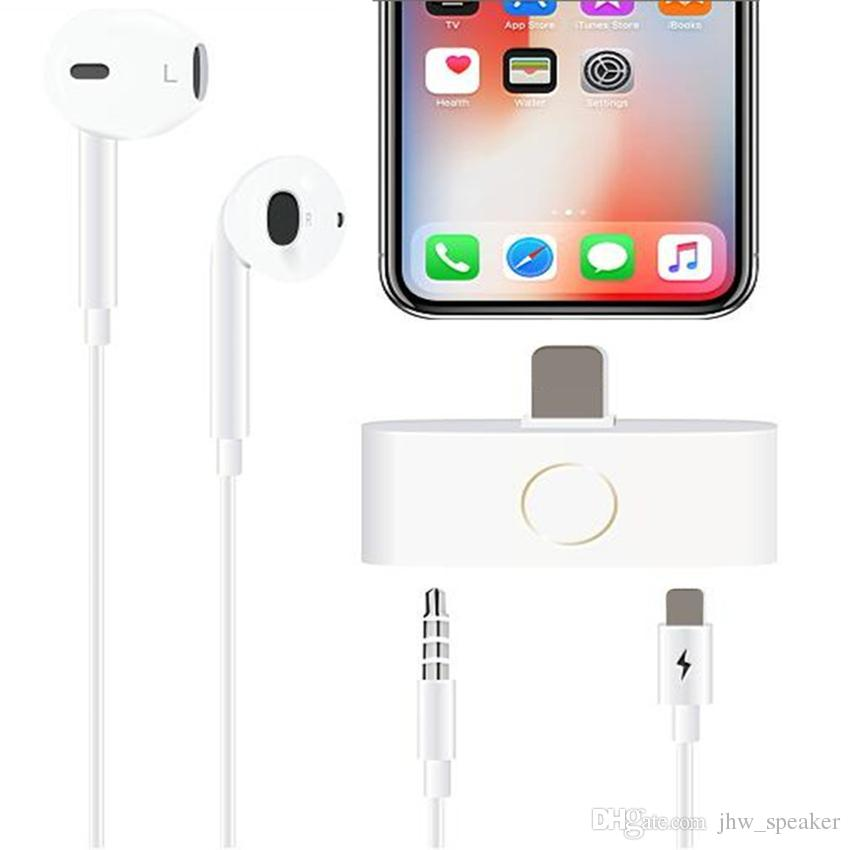 low priced 73001 7f0d5 For iPhone X 10 Home Button Audio Adapter Headphone Converter Support Home  Key Audio 3.5mm Jack & Listening Charging 2018 New