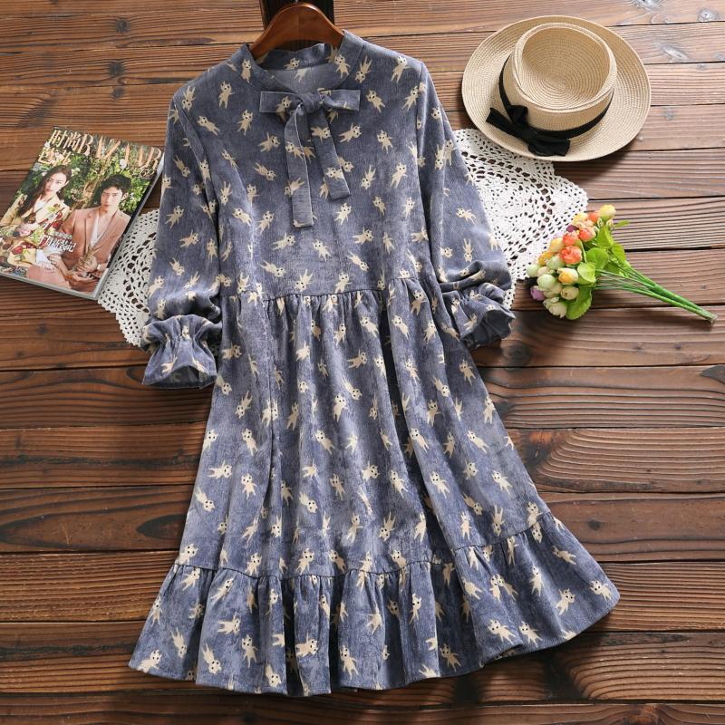 4e84633643 Japan Spring Autumn Women Cute Mini Dress Anime Cartoon Pattern Bow Kawaii  Femininos Vestido Sweet Corduroy Ruffles Lolita Dress Floral Sundresses  Shop ...