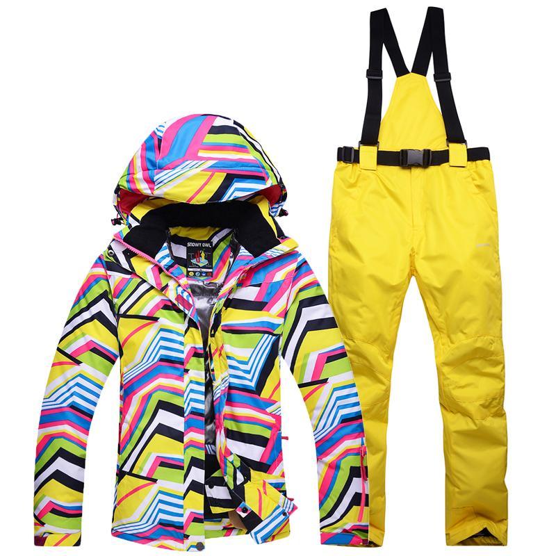 9b5577808a83 2019 Ski Suit Women Skiing Jacket + Snowboard Pants Outdoor Female ...
