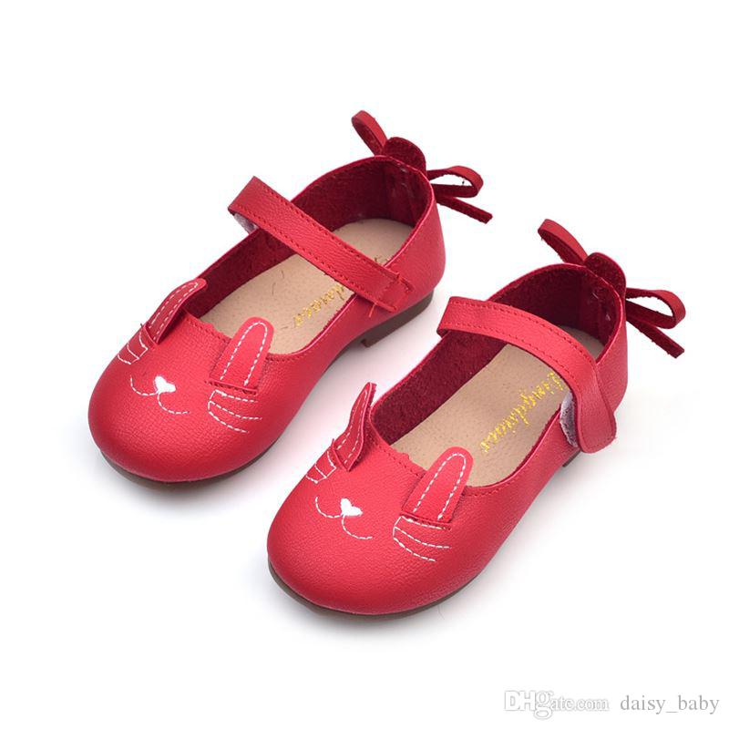 2018 Spring Child Casual Shoes Girl Fashion Cat Embroidery Design