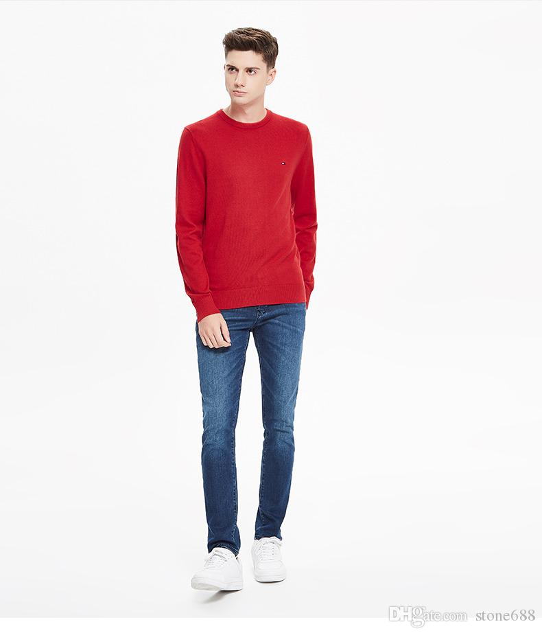 Wholesale - 2018 England Autumn Winter Men's Casual Sweater Slim Cotton O-neck Pullover Men's Quality Knit Body Sweater European Size M-2XL