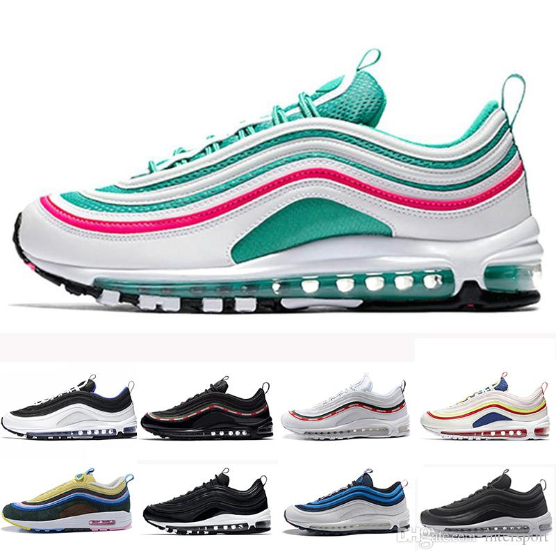Cheaper New 97 97s South Beach Running Shoes Triple White Black Yellow SE  Runner Og Metallic Gold Silver Bullet Trainer Women Sport Sneakers Spikes  Shoes ... 1515305a6