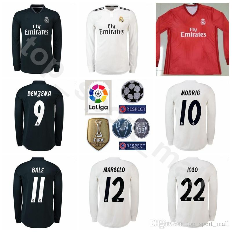 FC White Real Madrid Camisetas De Fútbol De Manga Larga ASENSIO RAMOS  MODRIC ISCO BENZEMA KROOS MARCELO Kits De Camiseta De Fútbol Uniforme Por  ... 8f1cd8d6b6991