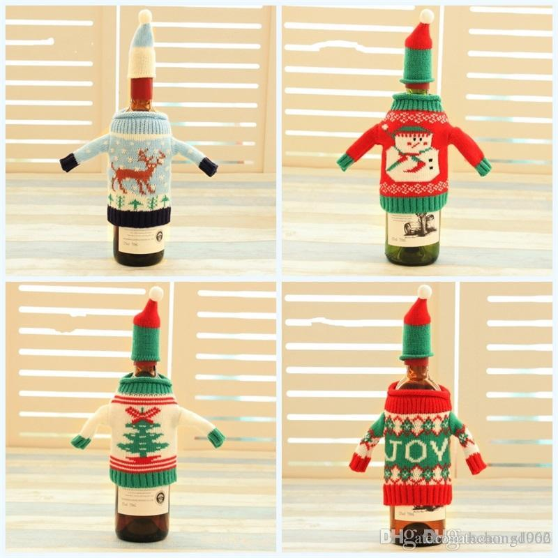 Santas Claus Wine Bottle Cover High Grade Originality Bags Knitting Christmas Sleeve Dinner Table Ornament Reusable 7 2qy jj
