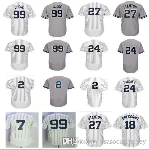 competitive price e3723 4bdc2 Men's New York 2 Derek Jeter Jersey 27 Giancarlo Stanton 18 Didi Gregorius  24 Gary Sanchez 99 Aaron Judge Baseball Jerseys