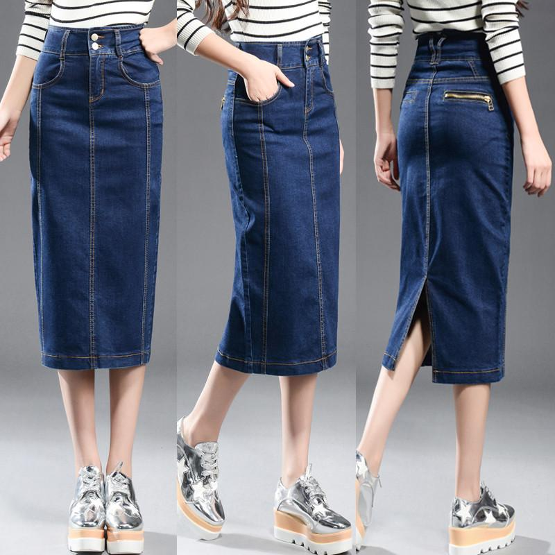 2d7012cb7d6d 2019 New 2017 Denim Skirt Women Plus Size Casual High Waist Denim Skirts  Pencil Patchwork Stretch Slim Hip Jean Skirt Long 8XL From Cadly