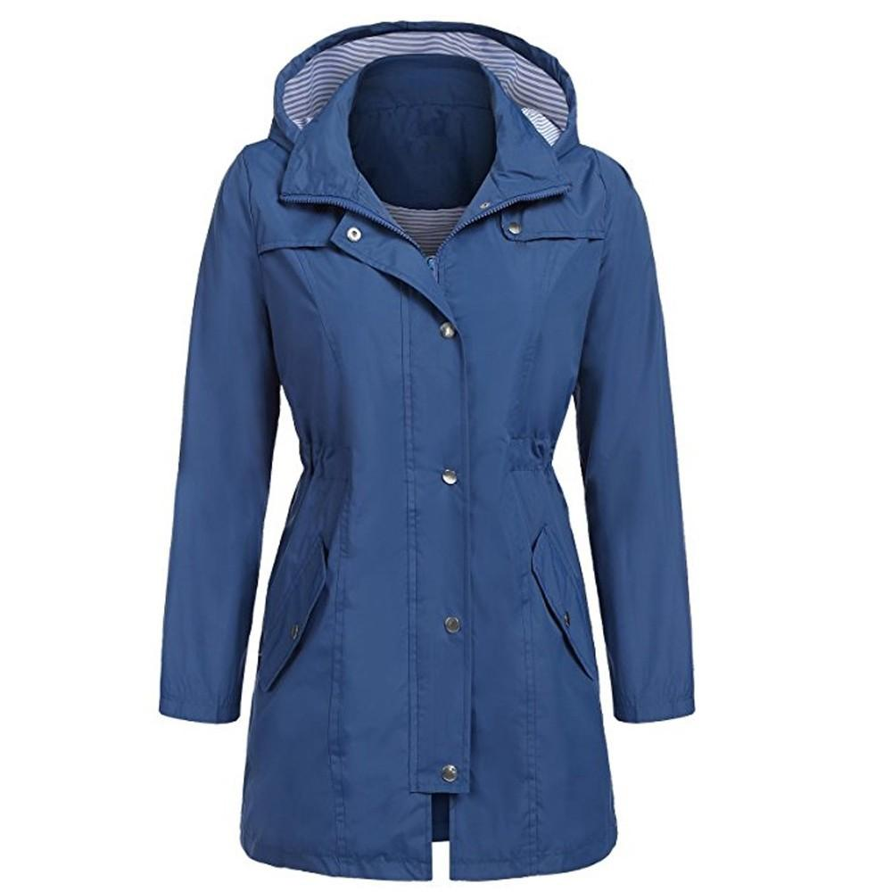 new selection good looking great quality Autumn Women s Long Trench Solid Rain Jacket Outdoor Zipper Hoodie  Waterproof Hooded Raincoat Slim Ladies Long Jacket Coat