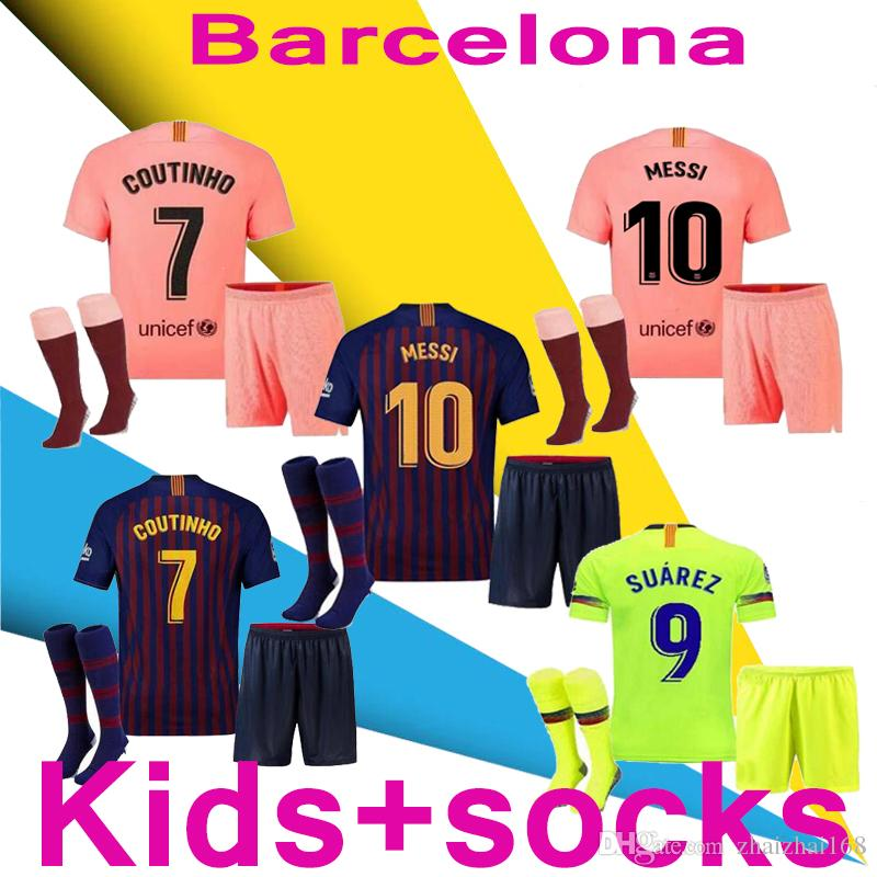 f7fc220db4 2019 Barcelona 2018 MESSI SUAREZ Kids Kit + Socks Jersey Soccer 2019  Camisas Blue Dembele Messi INIESTA Home Football Shirt 18 19 Kids Kit From  Zhaizhai168