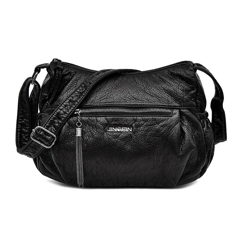 Woman Fashion Soft Leather Shoulder Bags Female Tassel Crossbody Bag Women  Messenger Bag Tote Ladies Handbag Hobos Bolsas Bolsa Fashion Fashion Handbag  ... 16d6d2a911