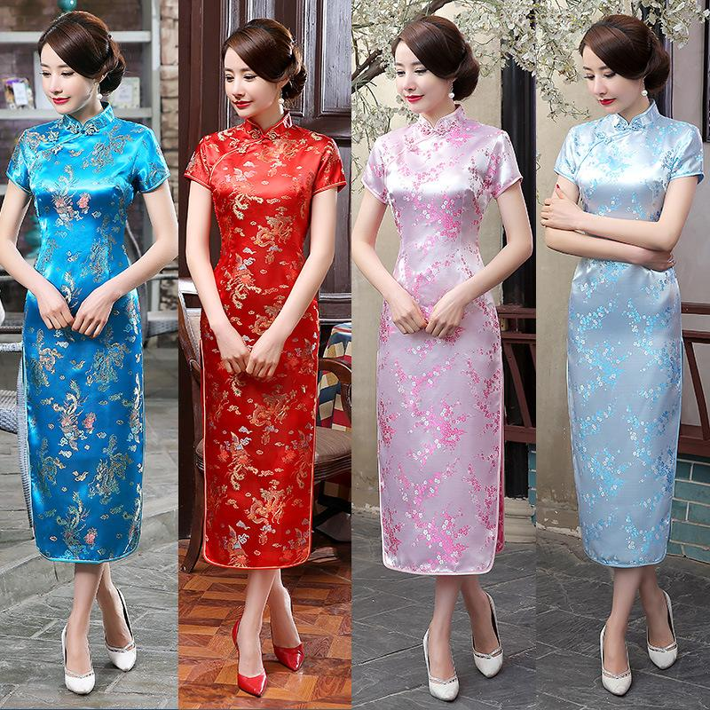 Large Size Long High Split Improved Fashion Printing Slim Brocade Cheongsam  Long Cheongsam Silk Brocade Large Size Online with  77.72 Piece on ... 3c87550271e1