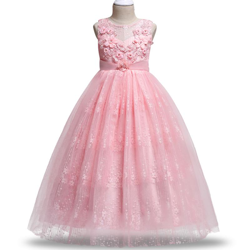 7aaf319fac5 lace Girl Wedding Flower Girl Dress 2018 Summer Children s clothing Wear  Princess Party Dress Formal Dress Sleeveless 3-14 Years Old