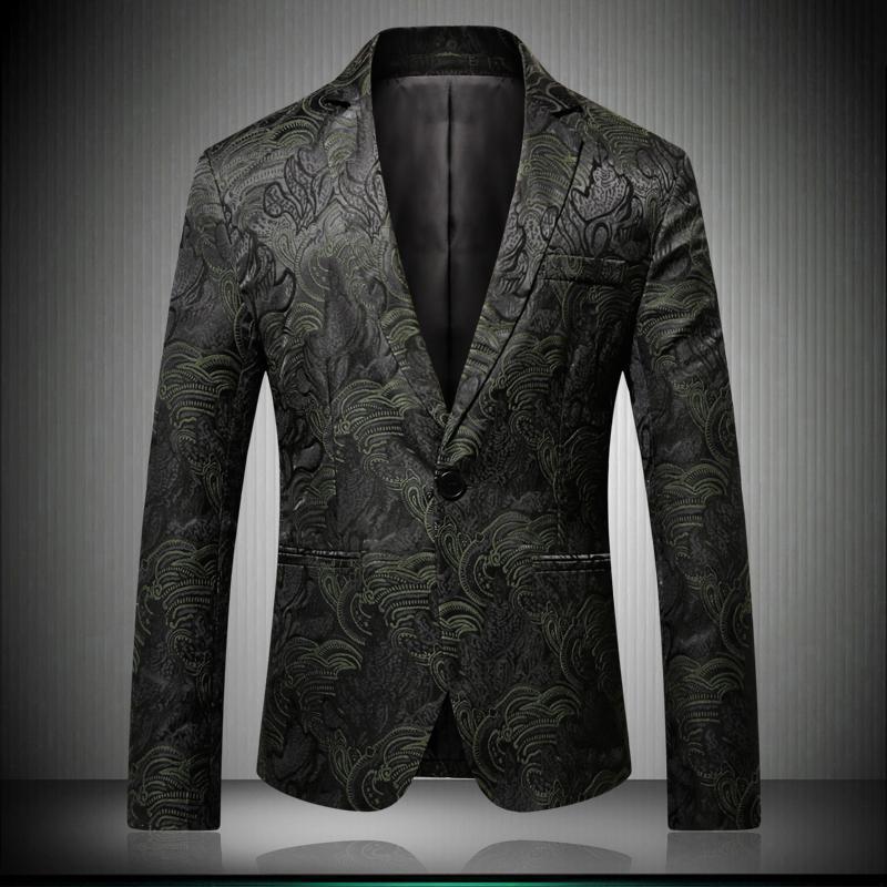 Compre Hombres Blazer Con Estampado Floral Slim Fit 2018 Otoño Invierno New  Business Hombres Ocasionales Con Estilo Blazers Para Hombre Jacquard Traje  ... d655825348d