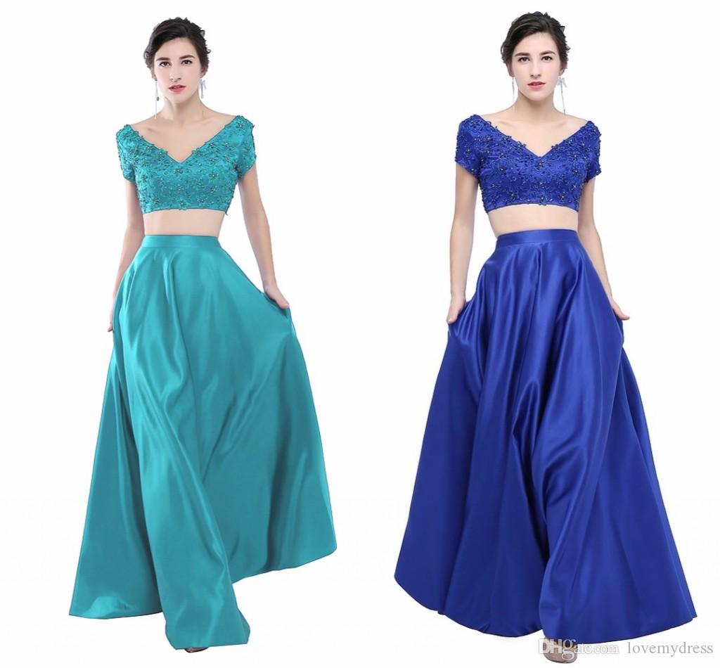 Teal Royal Blue V Neck Evening Dress Two Piece Short Sleeves ...