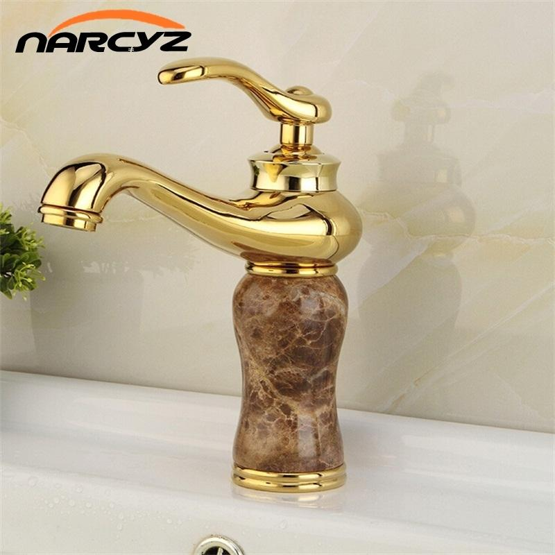2018 High Quality Golden Plated Bathroom Marble Stone Basin Taps ...