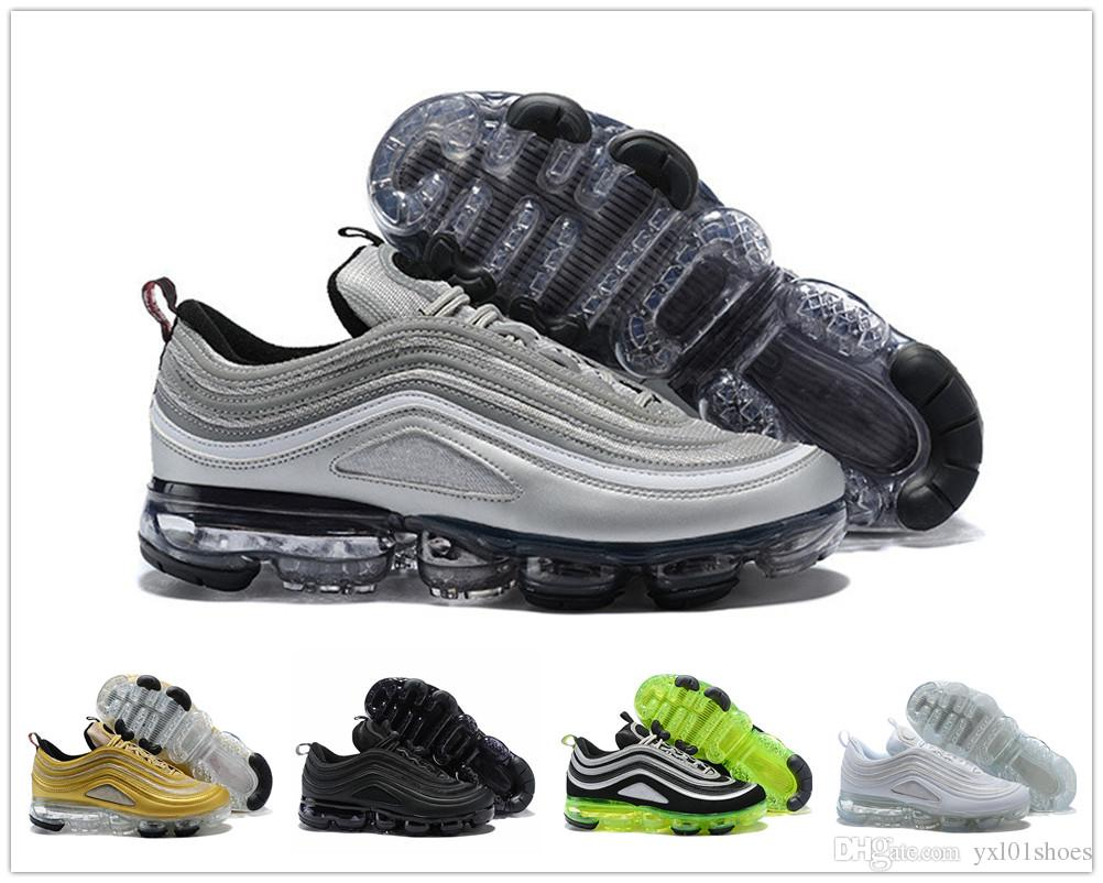 Hot Sale VaporMax 97 Silver Bullet Half Blood Sports Running Shoes For Men  Women 97s Vapor Black White Gold Green Sports Sneakers EUR 36 46 Basketball  Shoes ... 7380d7d2d