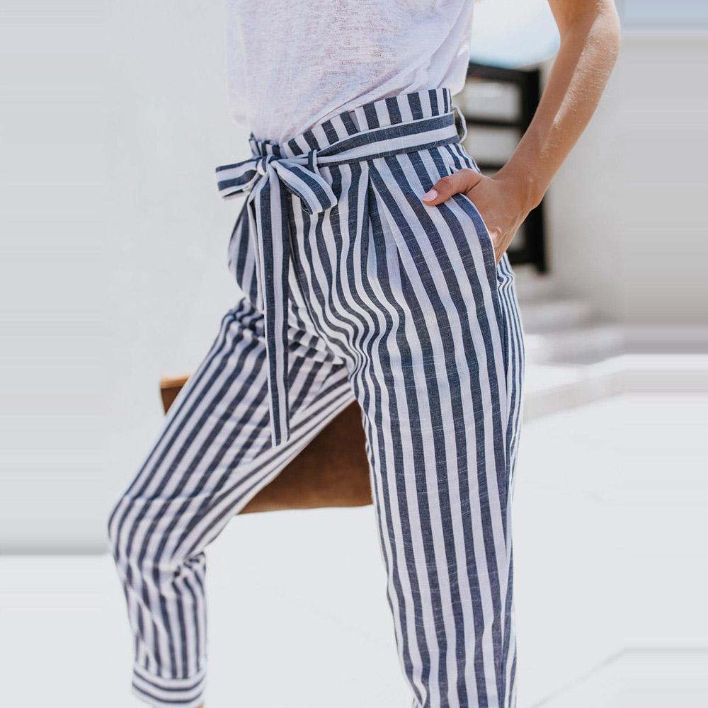 4f19518cca Compre Moda 2018 Mujeres Pantalones Harem Elásticos De Cintura Alta OL  Casual Rayas Sueltas Pantalones Harajuku Pantalon Femme Mujer Roupas A   19.05 Del ...