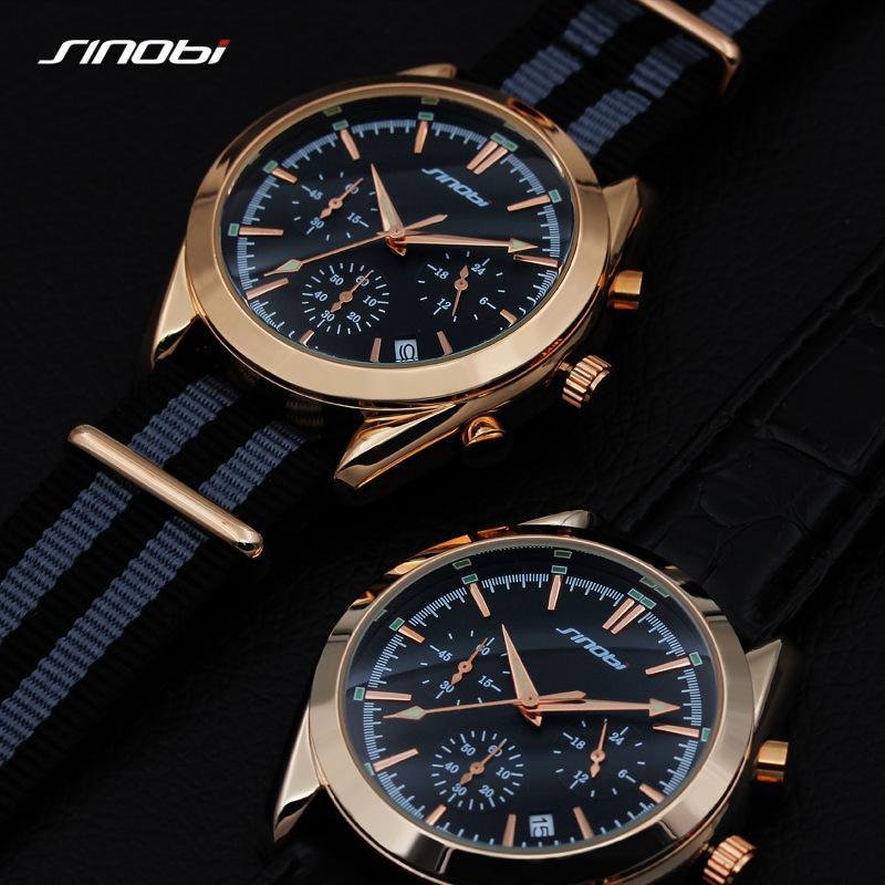 f524806ecb5 Compre 2017 Sinobi Homens Relógios De Pulso Cronógrafo Pulseira De Couro  Top Marca De Luxo Sports Masculino Genebra Relógio De Quartzo 007 De  Lantana