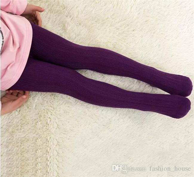 Multicolor Girls cotton solid colors leggings 2-12T kids jacquard pantyhose 4 sizes children spring autumn tights A08