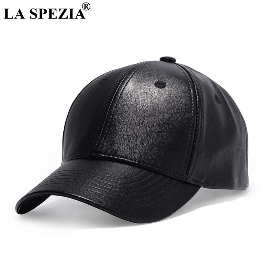 944ef81767b LA SPEZIA Black Baseball Cap Men Adjustable Leather Baseball Caps Women  Duckbill Casual Solid Peaked Caps Autumn Classic Dad Hat Hats And Caps  Skull Caps ...