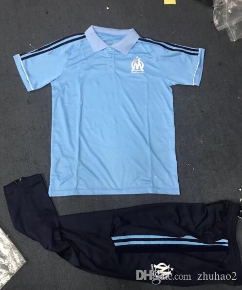 brand new 78b1f c3f96 2017/18 Olympique de Marseille soccer jersey 2018 SAKAI CLINTON THAUVIN  PAYET football shirts+pants away blue size S-XL