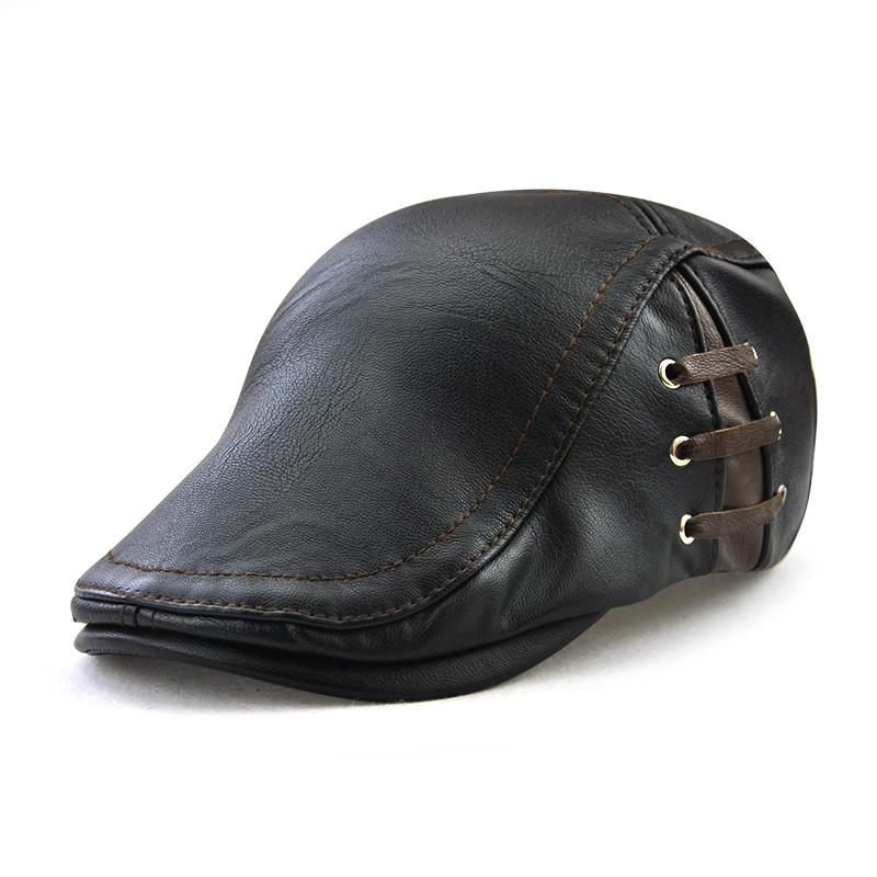 469fba21653 The New Trend of Men s Leather And Lace Up And out of Perforated Peaked Cap  Personality All-match Beret Beret Cap Cap Beret Leather Beret Cap Online  with ...