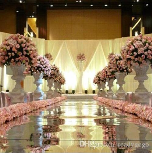 10m 1m Wide Shine Silver Mirror Carpet Aisle Runner For Romantic Wedding Favors Party Decoration