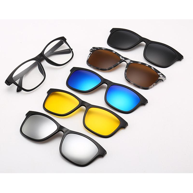 5dae12c627 5lenses Magnet Sunglasses 5 In 1 Clip Mirrored Clip On Spectacles On  Glasses Men Women Polarized Custom Prescription Myopia Cat Eye Sunglasses  Round ...