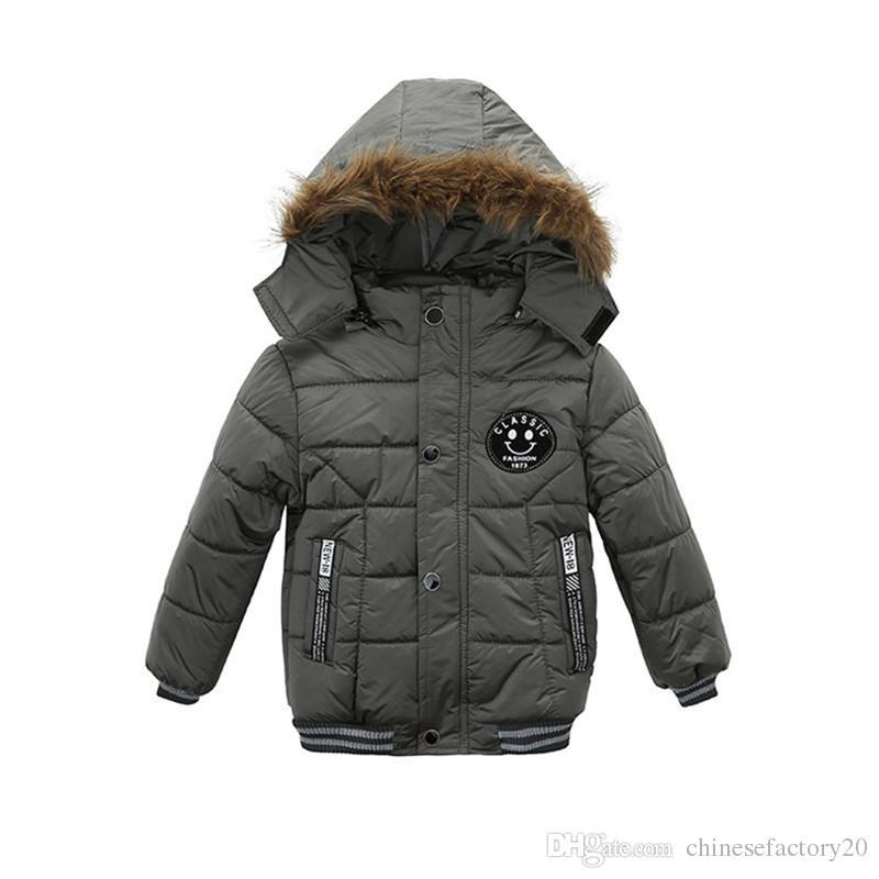 طفل بنين الشتاء ابتسامة الملابس المعطف الكورية سميكة مقنع القطن مبطن الاطفال عارضة الازياء زيبر بوي الدافئة جاكيتات