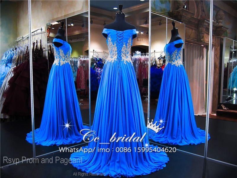 2018 Gold Lace Applique Prom Party Dresses Modest Royal Blue Dubai Arabic Full Length Dress Evening Wear New Plus Size Girls Pageant Gowns