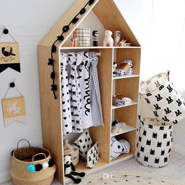 Padrão de grade semicírculo Saco de suspensão Bebê Crianças Brinquedo de roupas Saco de armazenamento de cesta de lavanderia com alças de couro