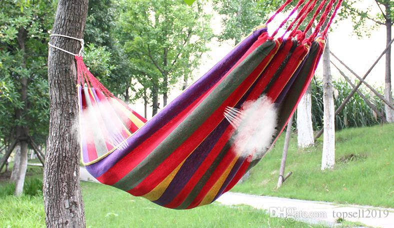 Portable 120 kg Load-bearing Garden Hammock Hang Bed Travel Camping Swing Survival Outdoor Sleeping Bags Canvas Stripe 190*80CM SN191