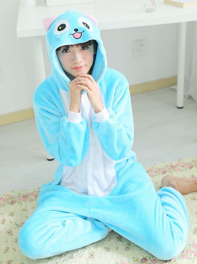de3ff414000b 2019 2017 Adult Fleece Pajamas All In One Pyjama Animal Suits Cosplay Adult  Winter Garment Cute Cartoon Hubby Cat Pajama Set From Volontiers
