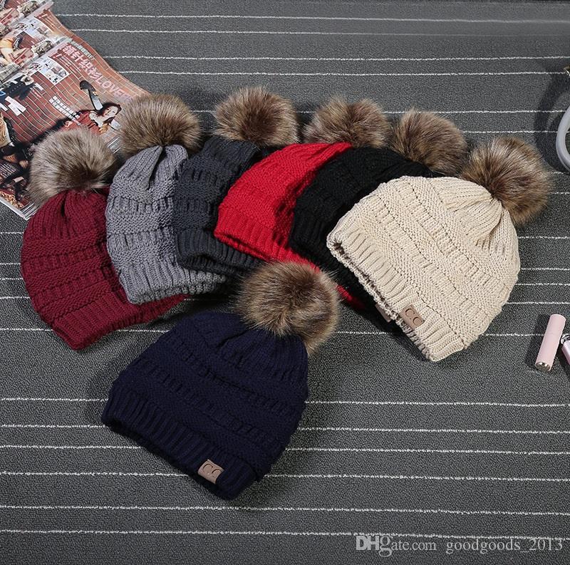0790a994566 2018 Newest Unisex CC Trendy Hats Winter Knitted Woolen Beanie Label ...