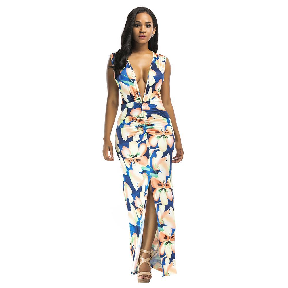 449c172de14d Sexy Maxi vestido de verano de las mujeres de impresión floral plunge  v-cuello sin mangas vestido de playa femenino partido partido acanalada ...