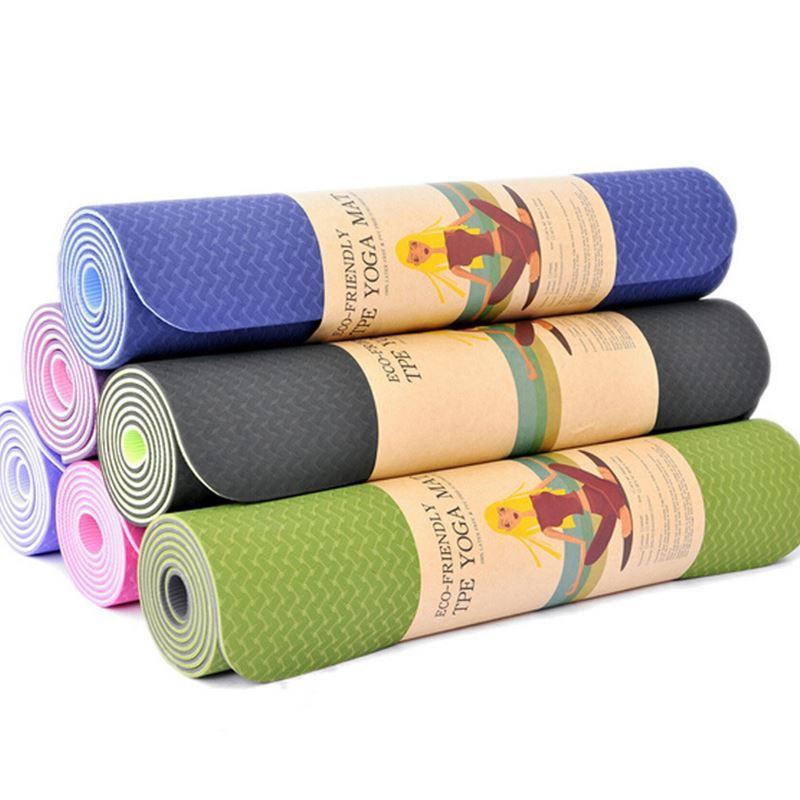 Acheter 183   61 6mm Tapis De Yoga Tpe Double Face Couleur Fitness Tapis En  Mousse Souple Exercices Antidérapants Coussin De Gym Sans Goût Soulager Le  ... a63028ff08f