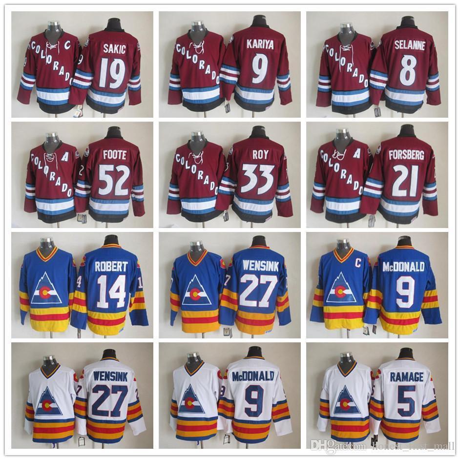 ccaccd3bb79 Stitched Colorado Avalanche 8 Teemu Selanne Jerseys 9 Paul Kariya 21 Peter  Forsber 19 Joe Sakic 52 Adam Foote Men's Vintage CCM Hockey