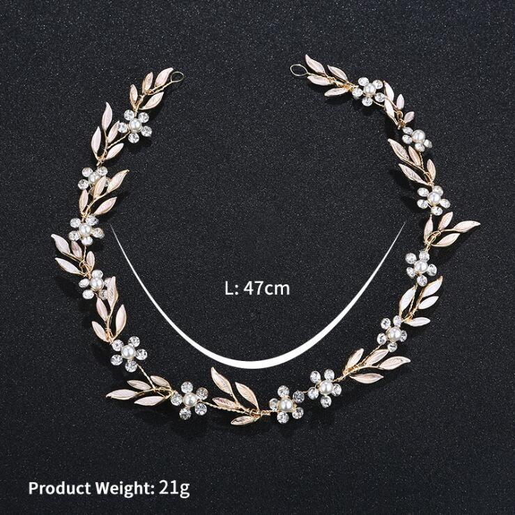 2019 style coréen feuilles d'or boucle d'oreille collier ensemble Headban HeadPiece strass cristal fleur Faux perles parti de mariée bijoux de mariée