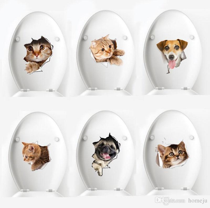 3d Katzen Wandaufkleber Hunde Wandaufkleber Für Badezimmer Wohnzimmer Wc Kühlschrank Dekoration Tier Aufkleber Kunst Aufkleber