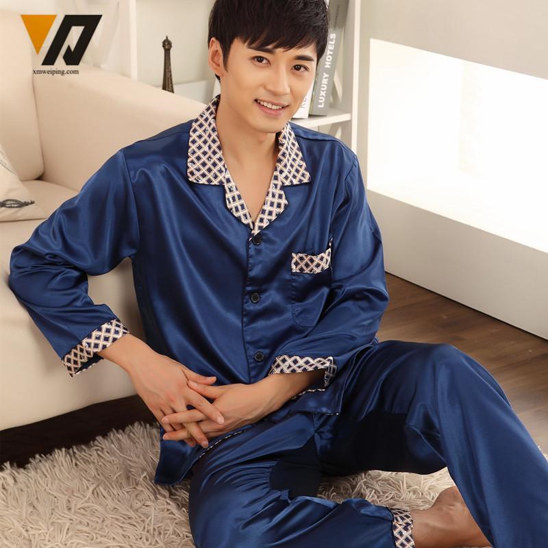 2019 XMWEIPING Long Sleeves Mens Silk Pajamas Sets Loungewear Spring  Pyjamas Set Onesie Nightwear Blue Pijama Hombre Verano From Ritalei 0d540f037
