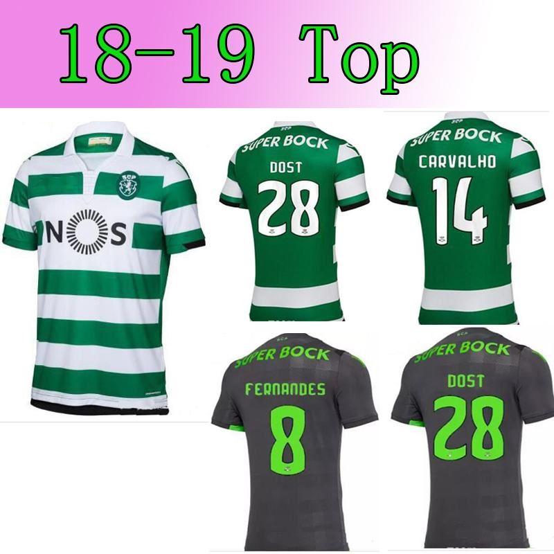 4b2bbbbbda0 Acheter 2018 2019 Lisbon Soccer Jersey Domicile Extérieur FERNANDES CARVALHO  DOST MARTINS ACUNA Maillots De Football Sporting Taille S XXL De  21.83 Du  ...