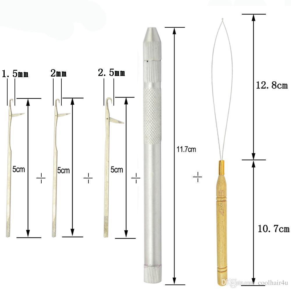 1 unids Metal keration hair needle and loop Indian crochet extensión de gancho de tejer agujas de Brasil herramientas de peinado