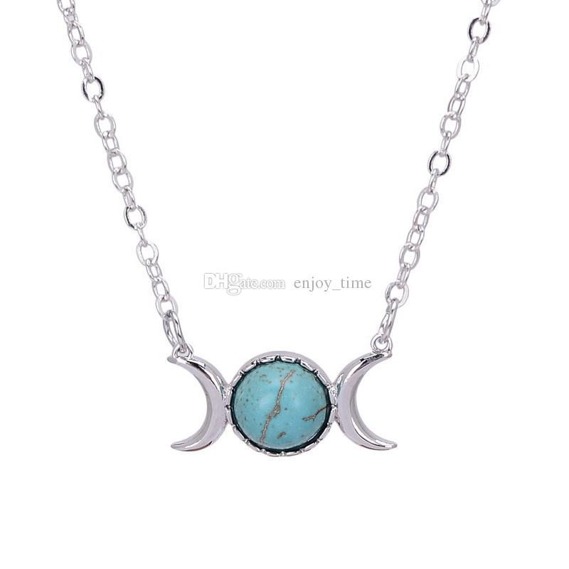 Fahsion versilberte Naturstein-Halskette Sun Moon Opal Türkis rosa Kristall Anhänger Halskette