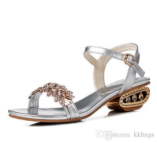 new concept ed5ad c7b1c Aushöhlen Chunky Sandalen für Frauen Sommer schmücken Diamant Blumen  Sandalen schwarz Silber Gold elegante Sandalen