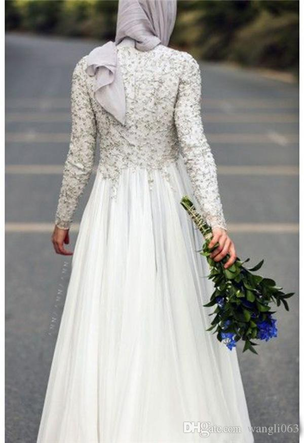Modest Beaded Lace Muslim Wedding Dresses with Long Sleeve Fall High Neck Ivory Chiffon Country Style Arabic Bridal Gown with Hijab