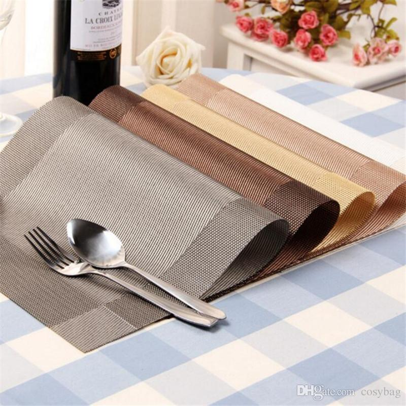 2018 Placemats Washable Pvc Dining Table Mats Heat Resistant Sustainable  Woven Vinyl Place Mats For Kitchen Table Set Of 049 From Cosybag, $1.21 |  Dhgate.