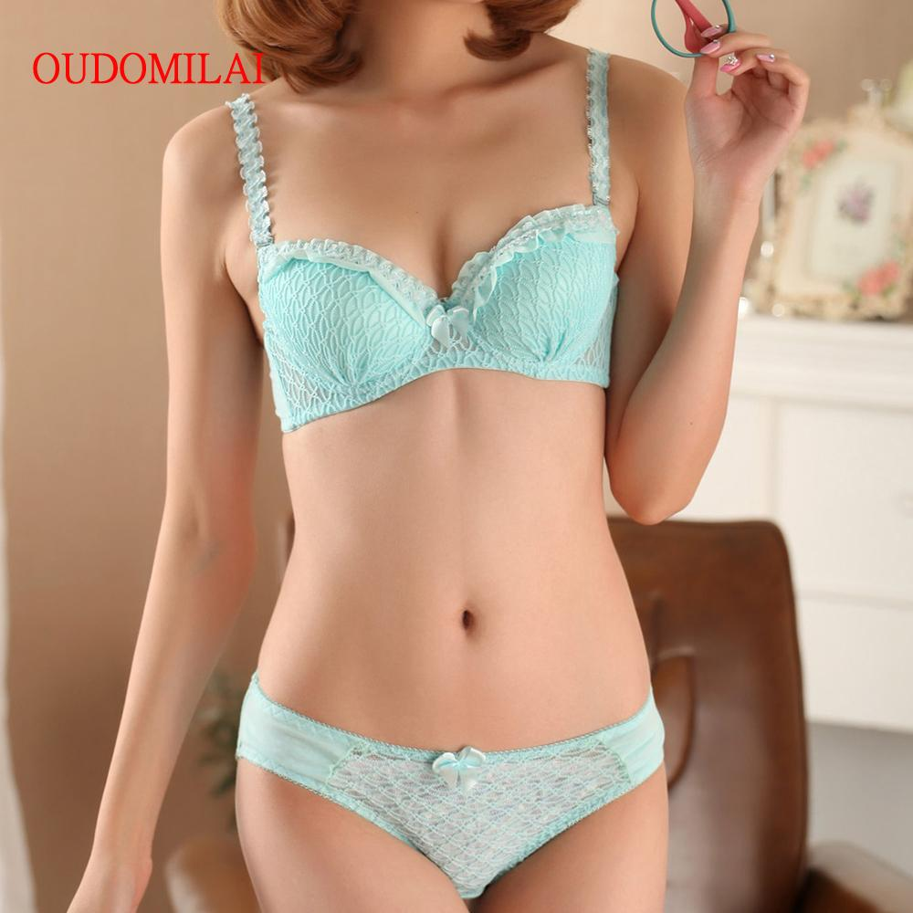 c6fb3a83696 OUDOMILAI Hot Japanese Cute Women s Bra Set 3 4 Adjusted Push Up Underwire  Sets 70 75 80 A B Cup Small Chest Girls Sexy Lingerie