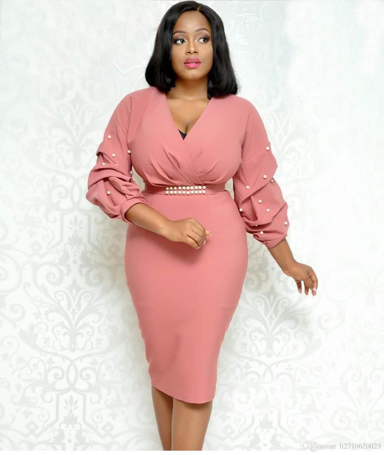 f50a8b22ea Compre Vestido Ajustado De Color Rosa Con Cuentas Blancas Perlas En La  Primavera 2018 Vestido Largo De Mujeres Con Cuello En V Atractivas Vestido  Largo Con ...